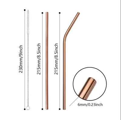 4 Pack Straight Rose Gold Stainless Steel Drinking Straws 210mm x 6mm - Online Party Supplies