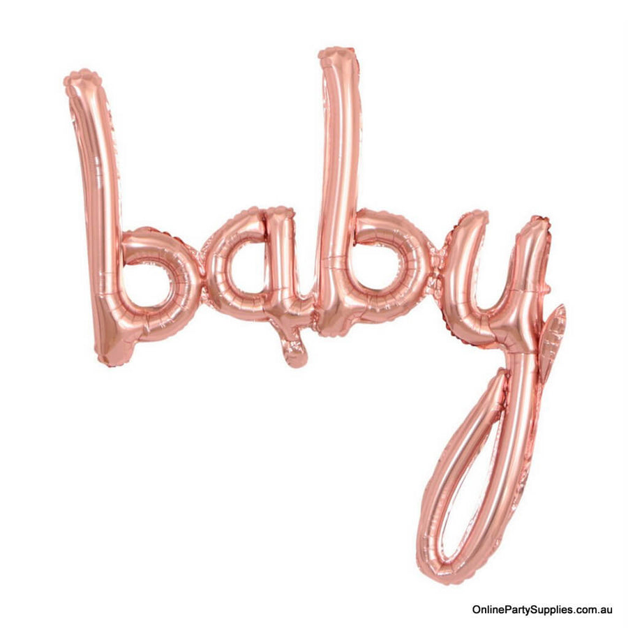 40 Inch Rose Gold 'baby' Script Baby Shower Foil Balloon Banner - It's A Girl Gender Reveal Party Decorations
