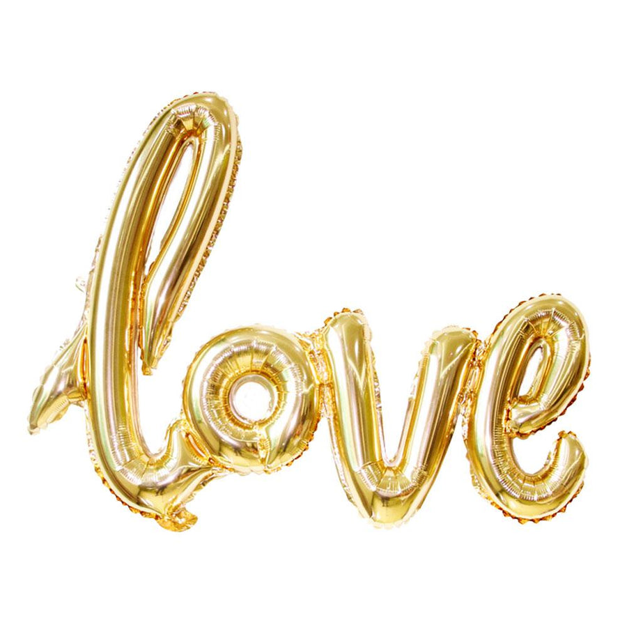 40 Inch Gold Love Script Foil Balloon - Online Party Supplies