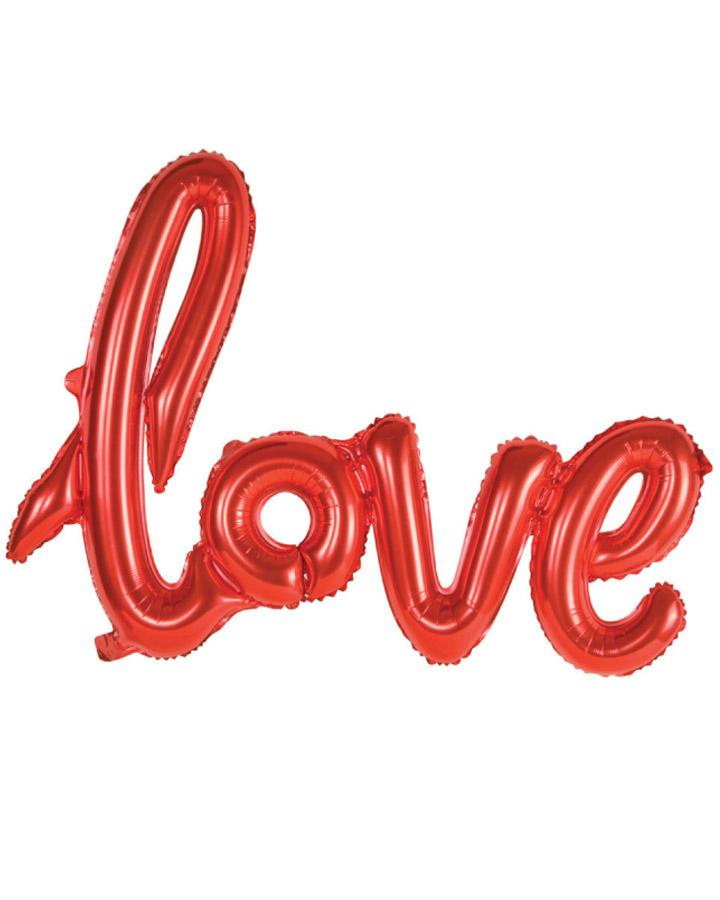 40 Inch Red Love Script Foil Balloon - Online Party Supplies