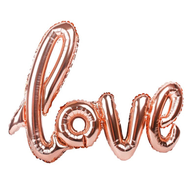 40 Inch Rose Gold Love Script Foil Balloon - Online Party Supplies