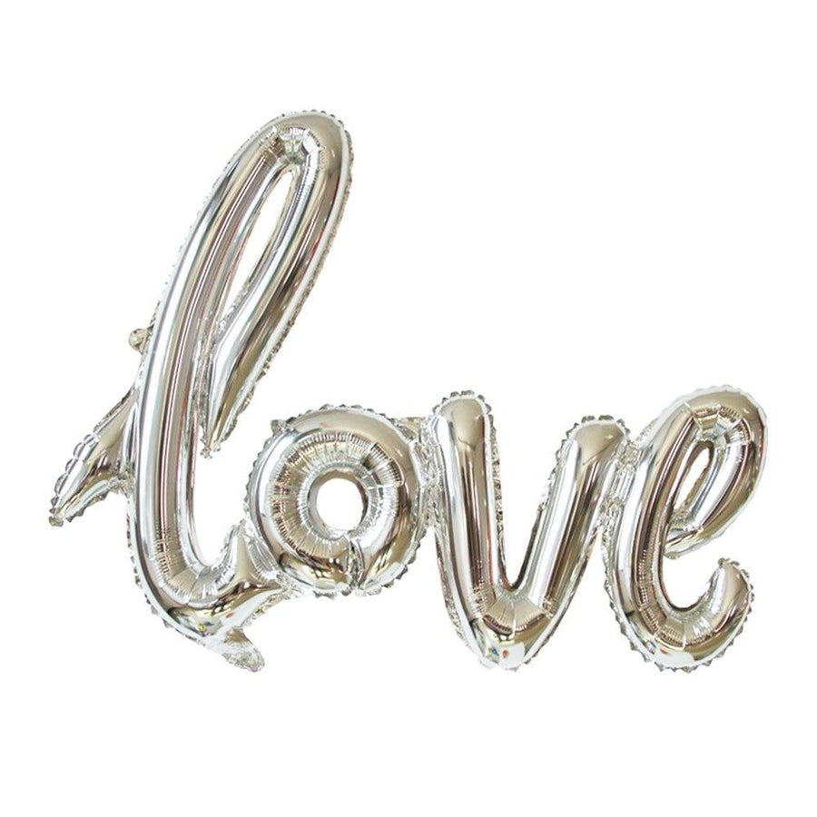 40 Inch Silver Love Script Foil Balloon - Online Party Supplies