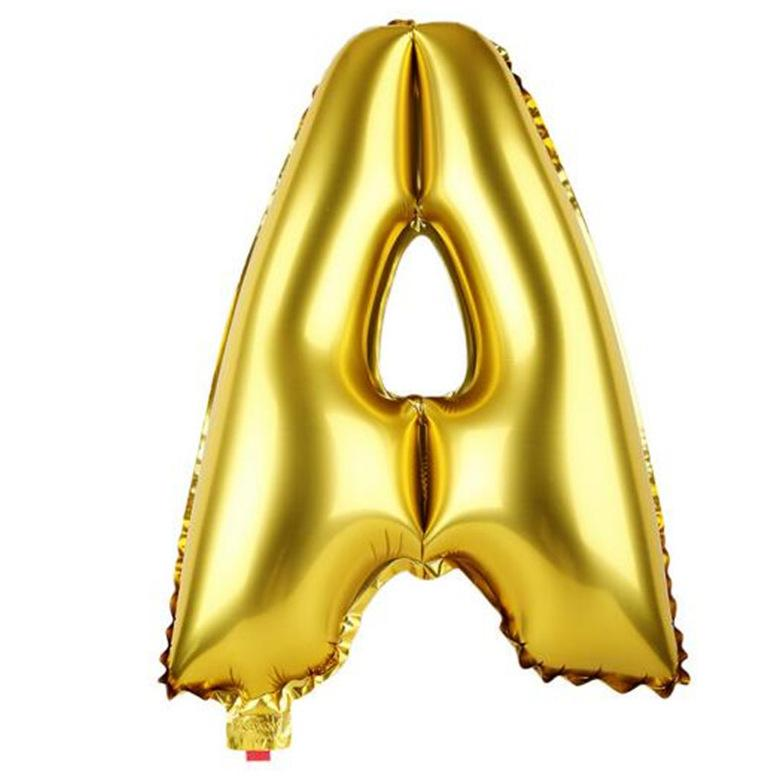40cm Gold Alphabet Air-Filled Foil Balloon - Letter A - Online Party Supplies