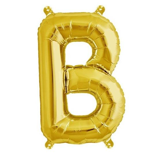 40cm Gold Alphabet Air-Filled Foil Balloon - Letter B - Online Party Supplies