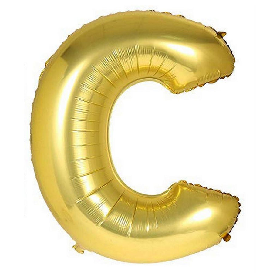 40cm Gold Alphabet Air-Filled Foil Balloon - Letter C - Online Party Supplies