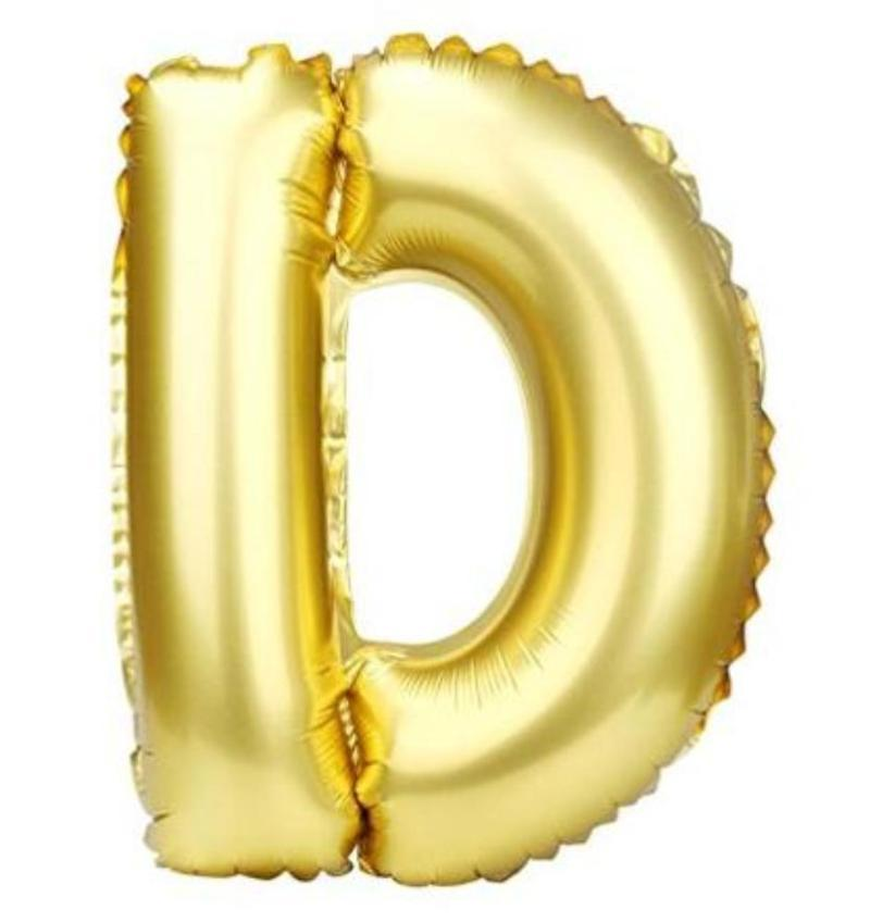 40cm Gold Alphabet Air-Filled Foil Balloon - Letter D - Online Party Supplies