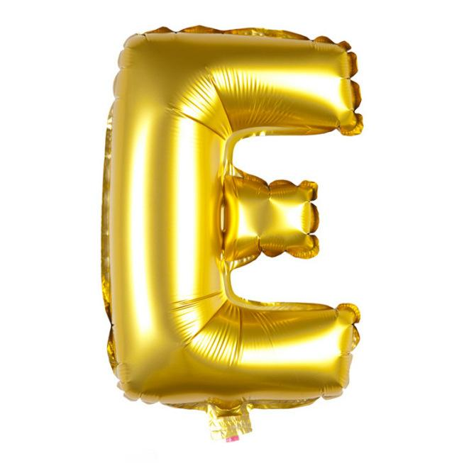 40cm Gold Alphabet Air-Filled Foil Balloon - Letter E - Online Party Supplies