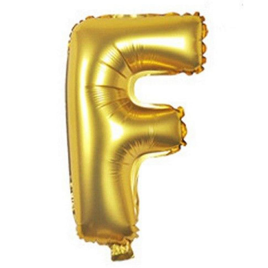 40cm Gold Alphabet Air-Filled Foil Balloon - Letter F - Online Party Supplies
