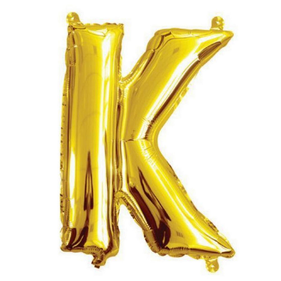 40cm Gold Alphabet Air-Filled Foil Balloon - Letter K - Online Party Supplies