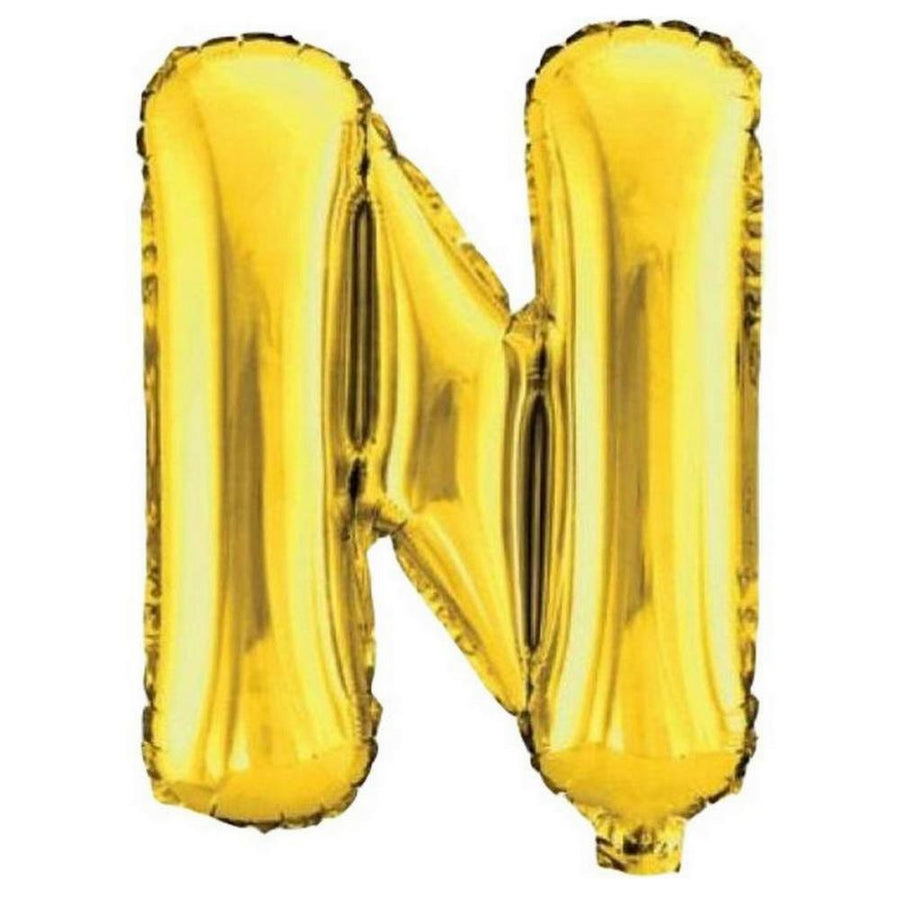 40cm Gold Alphabet Air-Filled Foil Balloon - Letter N - Online Party Supplies