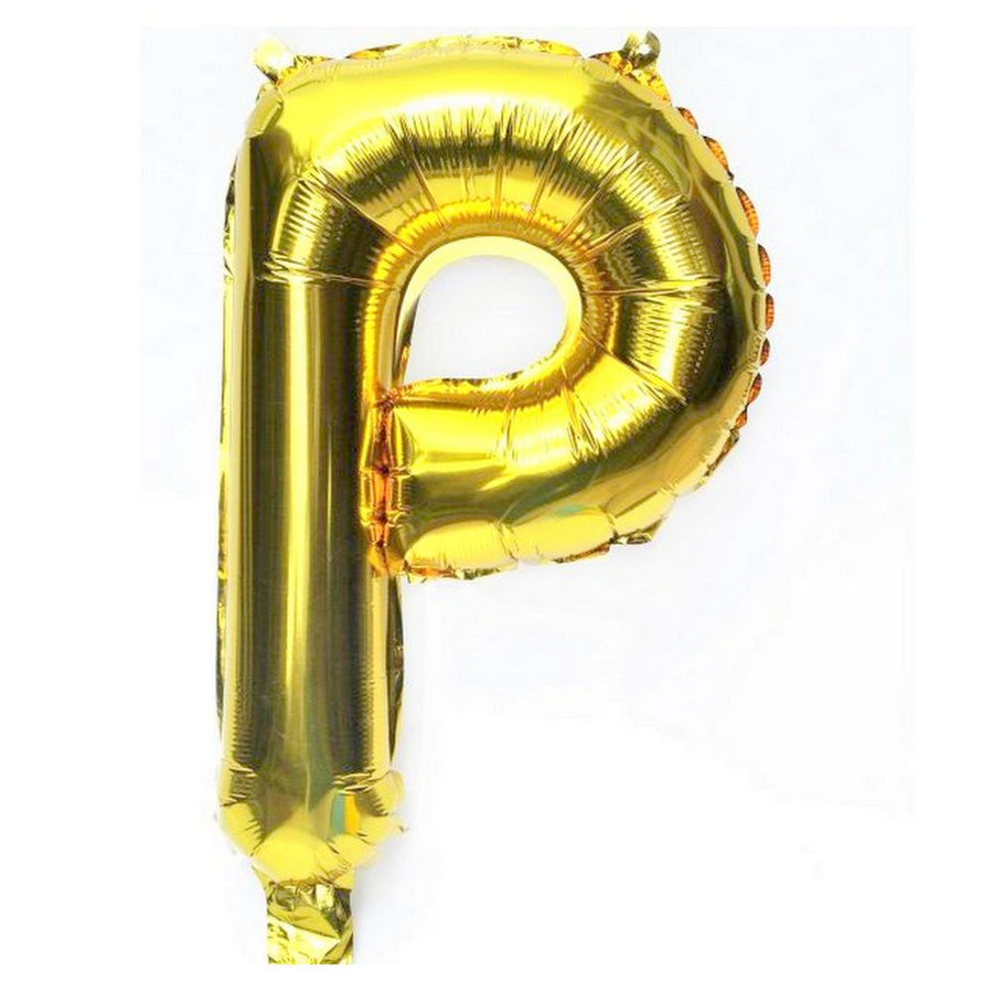 40cm Gold Alphabet Air-Filled Foil Balloon - Letter P - Online Party Supplies