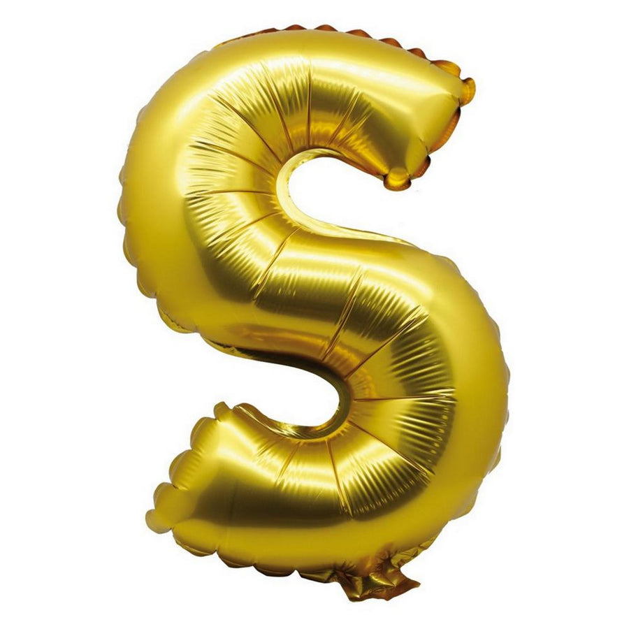 40cm Gold Alphabet Air-Filled Foil Balloon - Letter S - Online Party Supplies