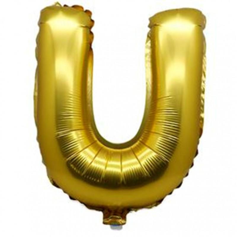 40cm Gold Alphabet Air-Filled Foil Balloon - Letter U - Online Party Supplies