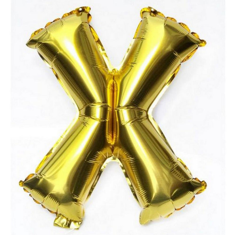 40cm Gold Alphabet Air-Filled Foil Balloon - Letter X - Online Party Supplies