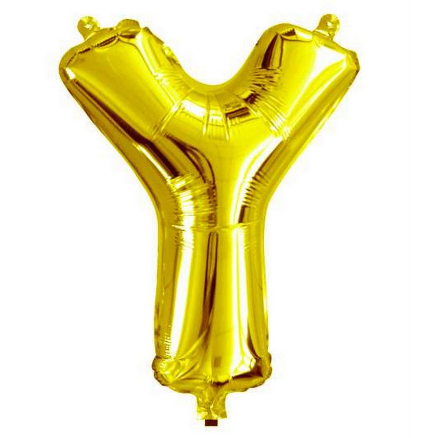 40cm Gold Alphabet Air-Filled Foil Balloon - Letter Y - Online Party Supplies