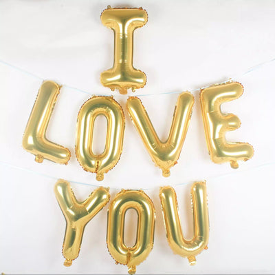 40cm Gold 'I LOVE YOU' Foil Balloon Banner - Online Party Supplies
