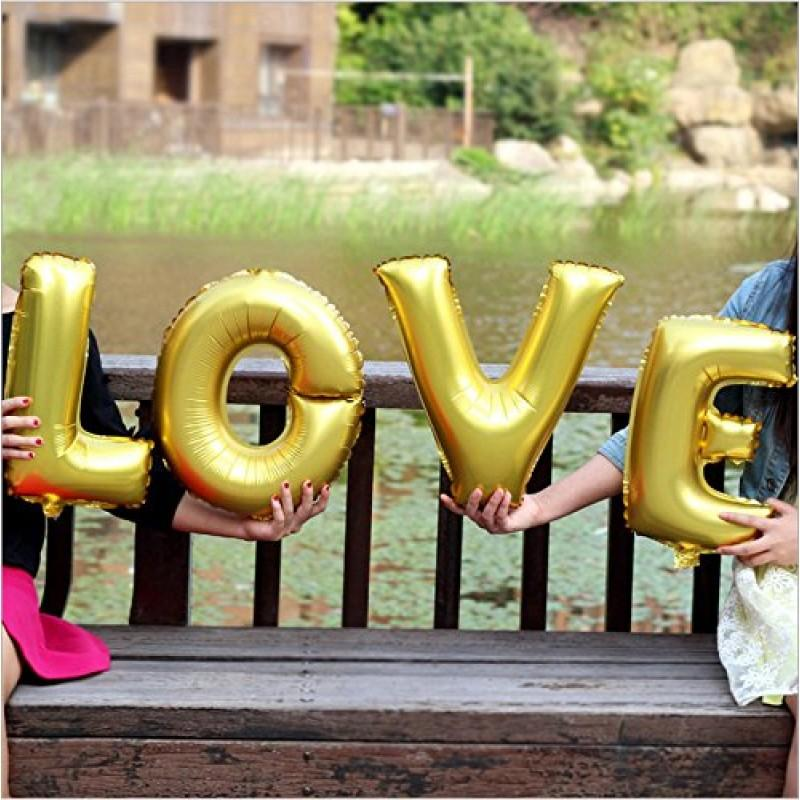 40cm Gold 'LOVE' Foil Letter Balloon Banner - Online Party Supplies