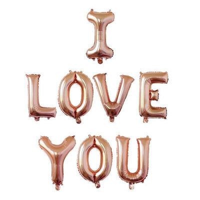 40cm Rose Gold 'I LOVE YOU' Foil Balloon Banner - Online Party Supplies