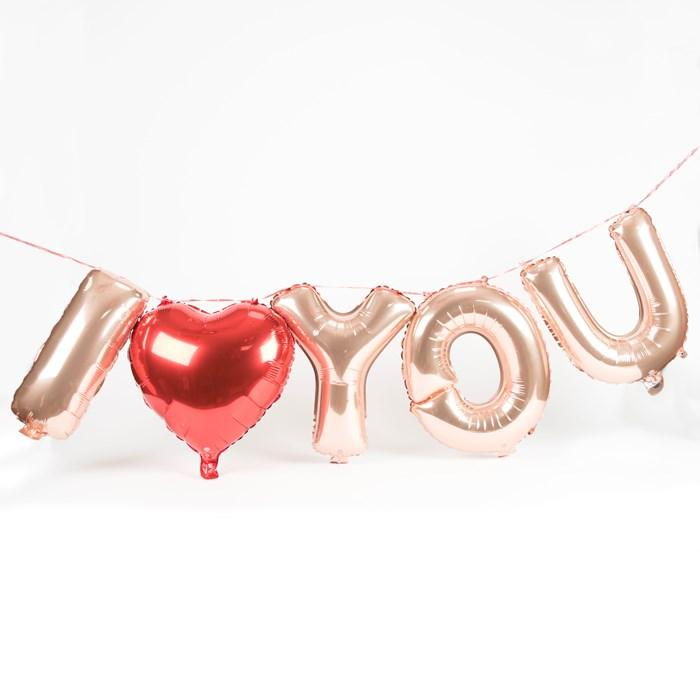 40cm Rose Gold 'I LOVE YOU' with a 45cm Red Heart Foil Balloon Banner - Online Party Supplies