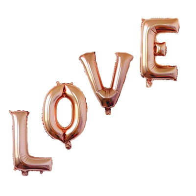 40cm Rose Gold 'LOVE' Foil Balloon Banner - Online Party Supplies