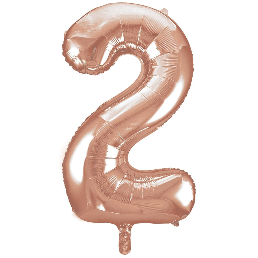 40cm Rose Gold Number Air-Filled Foil Balloon - Number 2 - Online Party Supplies