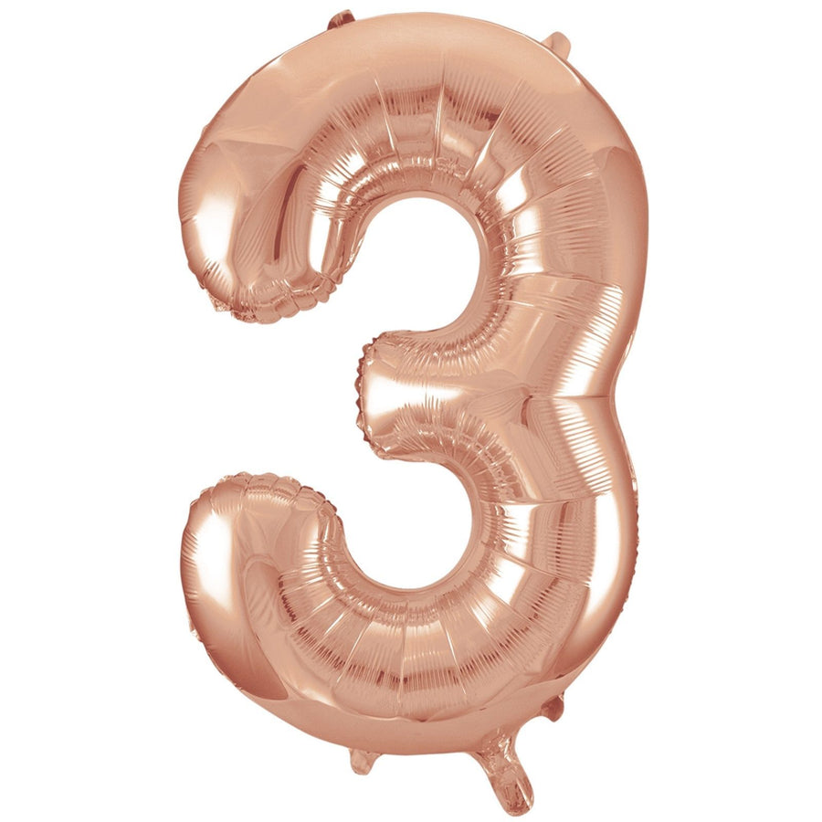 40cm Rose Gold Number Air-Filled Foil Balloon - Number 3