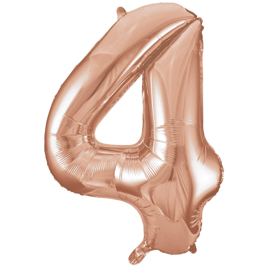 40cm Rose Gold Number Air-Filled Foil Balloon - Number 4 - Online Party Supplies
