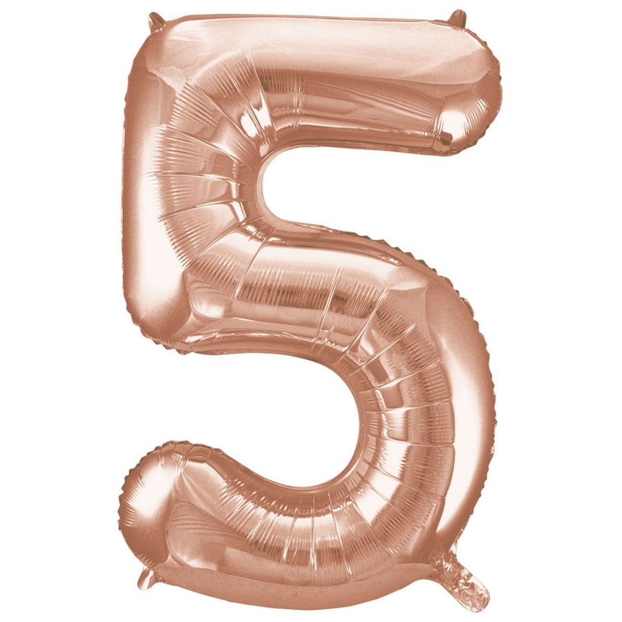 40cm Rose Gold Number Air-Filled Foil Balloon - Number 5 - Online Party Supplies