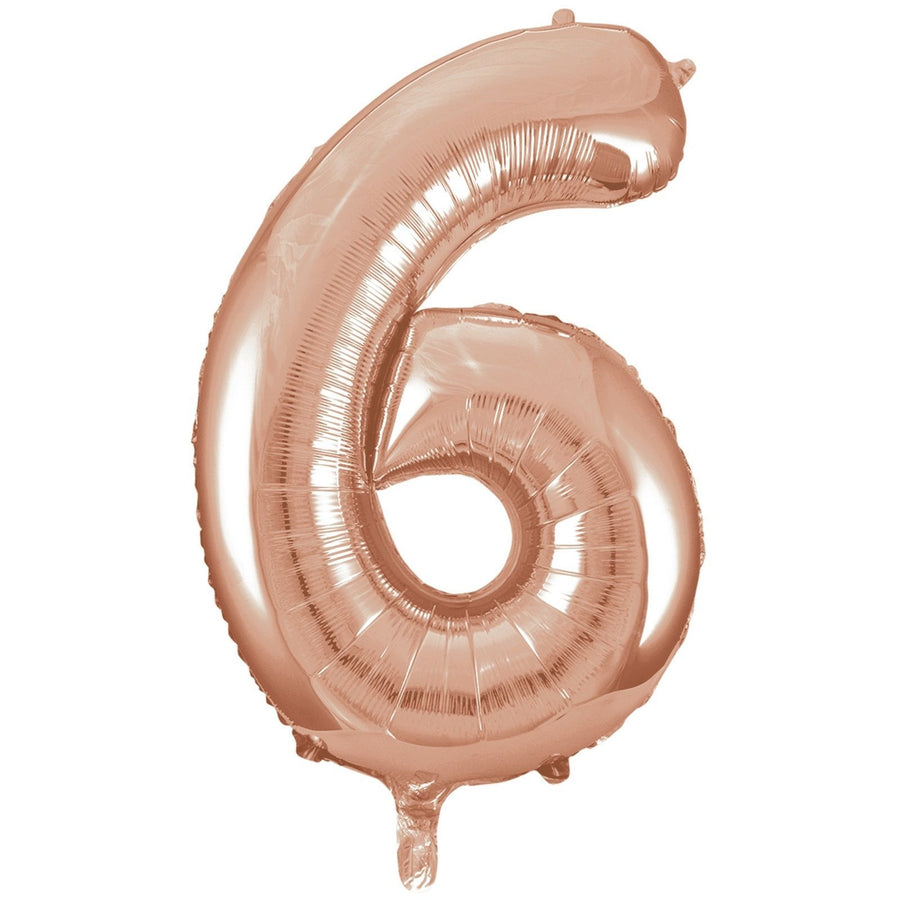 40cm Rose Gold Number Air-Filled Foil Balloon - Number 6 - Online Party Supplies