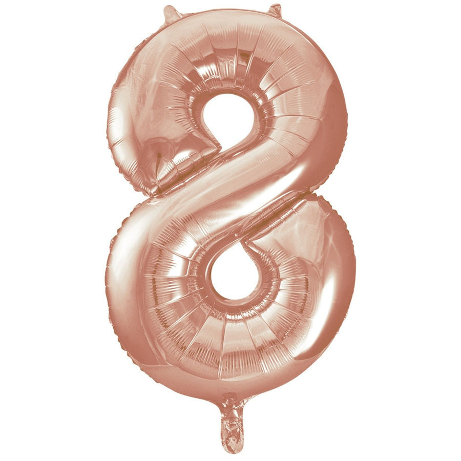 40cm Rose Gold Number Air-Filled Foil Balloon - Number 8 - Online Party Supplies