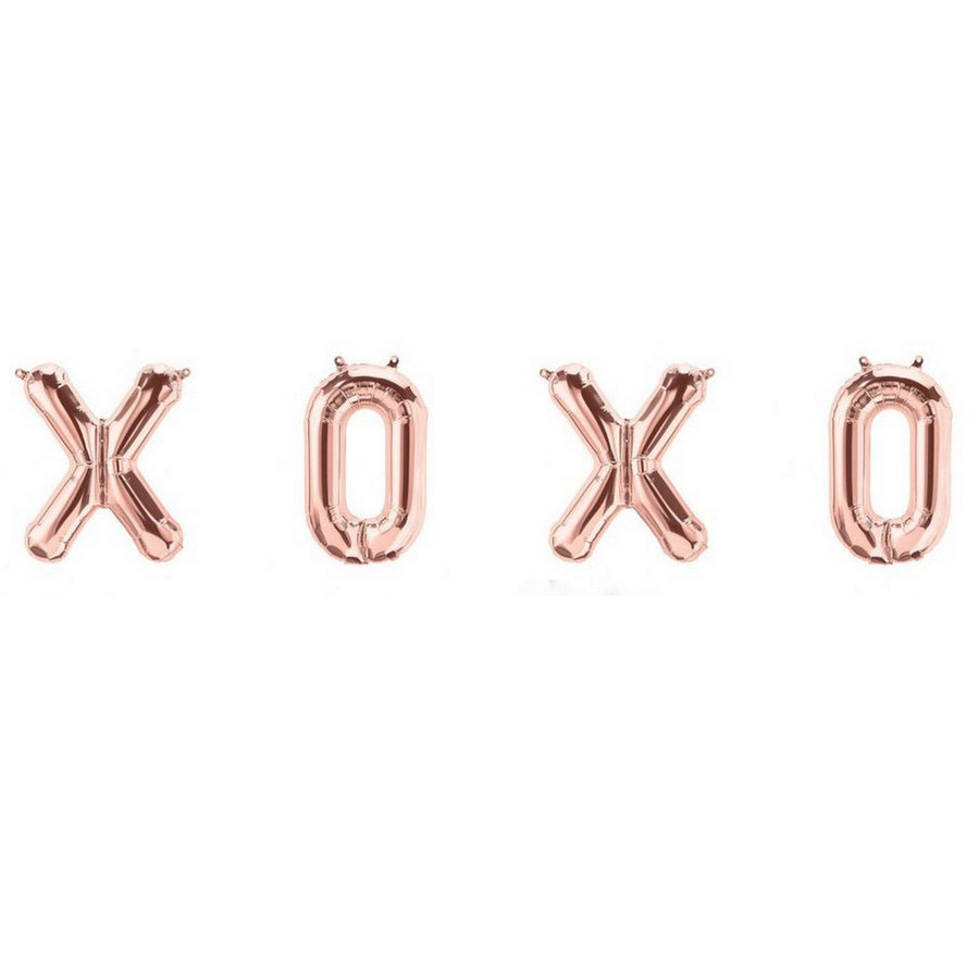 40cm Rose Gold 'XOXO' Foil Balloon Banner (Pack of 4pcs) - Online Party Supplies
