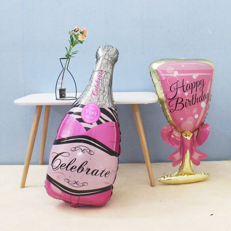 "37"" Jumbo Pink Happy Birthday Wine Goblet & Celebrate Champagne Bottle Balloon Set of 2"