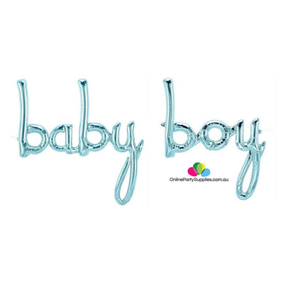 Pastel Blue 'baby boy' Script Baby Shower Foil Balloon Banner - It's A Boy Gender Reveal or Baby Shower Party Decorations