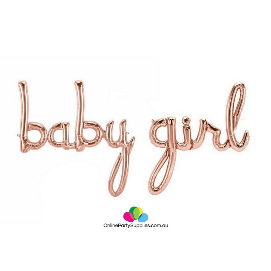 "40"" Rose Gold 'baby girl' Script Baby Shower Foil Balloon Banner"