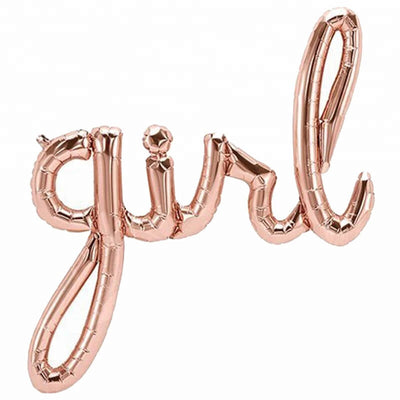 rose gold Girl script Baby Shower Foil Balloon Banner - Gender Reveal Party Decorations