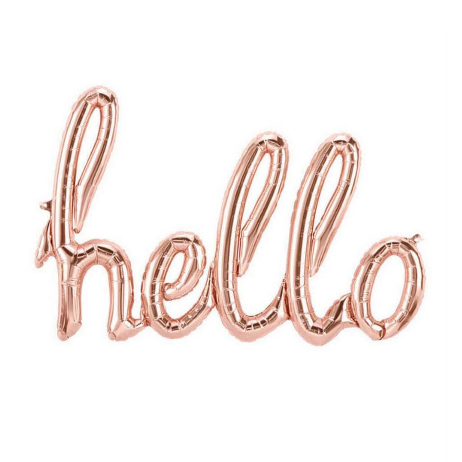 40 Inch Air-filled Rose Gold 'hello' Script Baby Shower Foil Balloon Banner Bunting