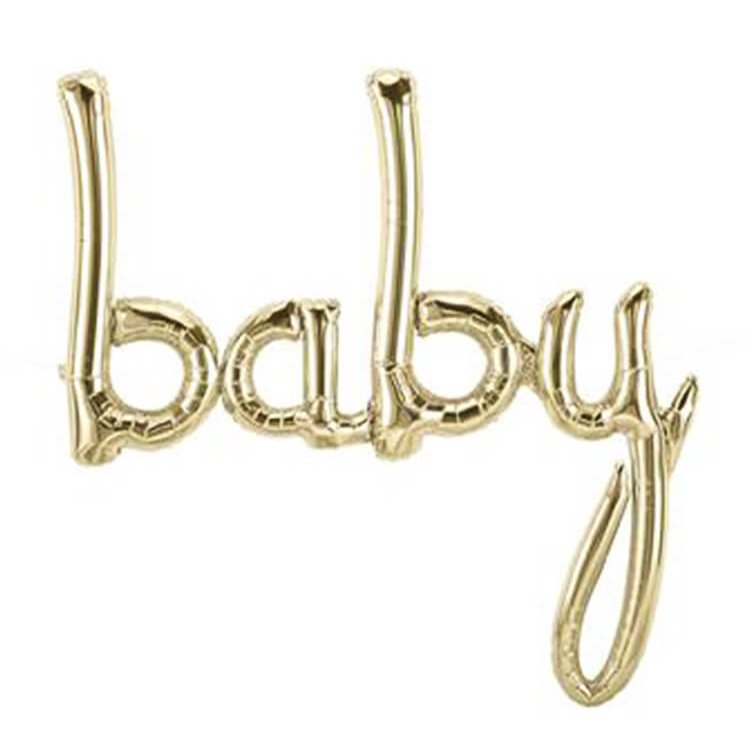 40 Inch White Gold 'baby' Script Baby Shower Foil Balloon Banner - Neutral Baby Shower or Gender Reveal Party Decorations