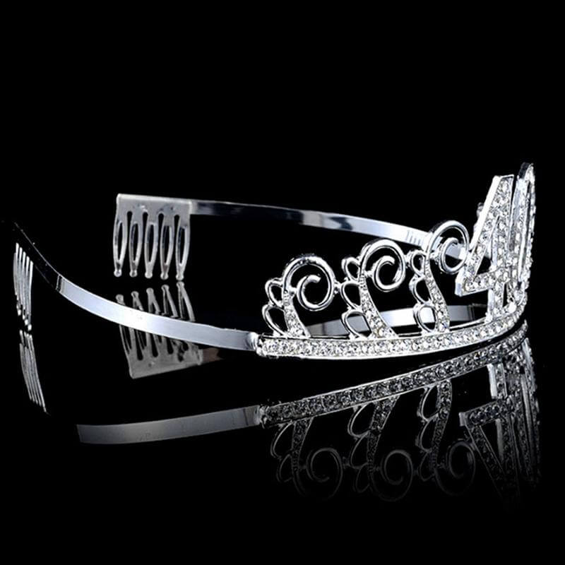 Premium Quality Silver Metal Rhinestone 40th Birthday Tiara - 40th Birthday Party Decorations