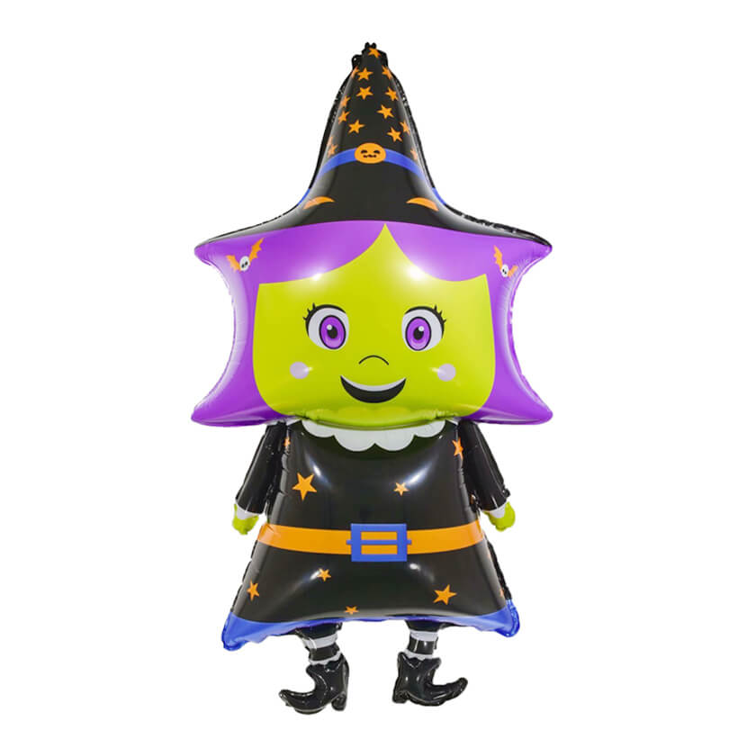 Halloween Standing Witch / Wizard Shaped Foil Balloon