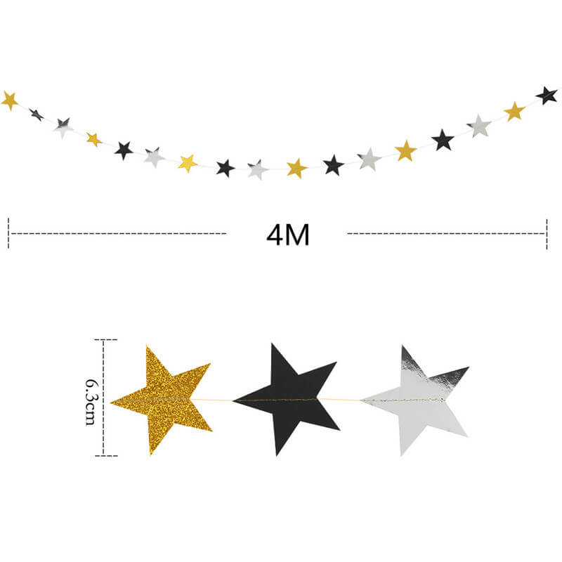 4m Gold Black Silver Glitter Star Paper Bunting Garland