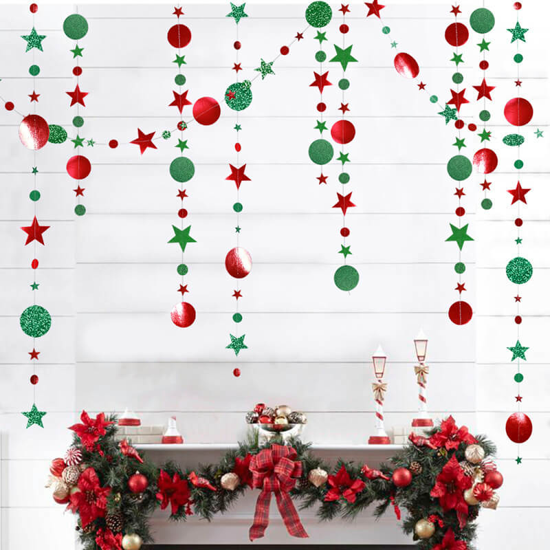 4m Glitter Green & Red Circle Star Paper Garland