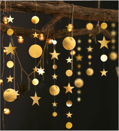 Online Party Supplies 4m Metallic Gold Circle Twinkle Twinkle Little Star Paper Garland