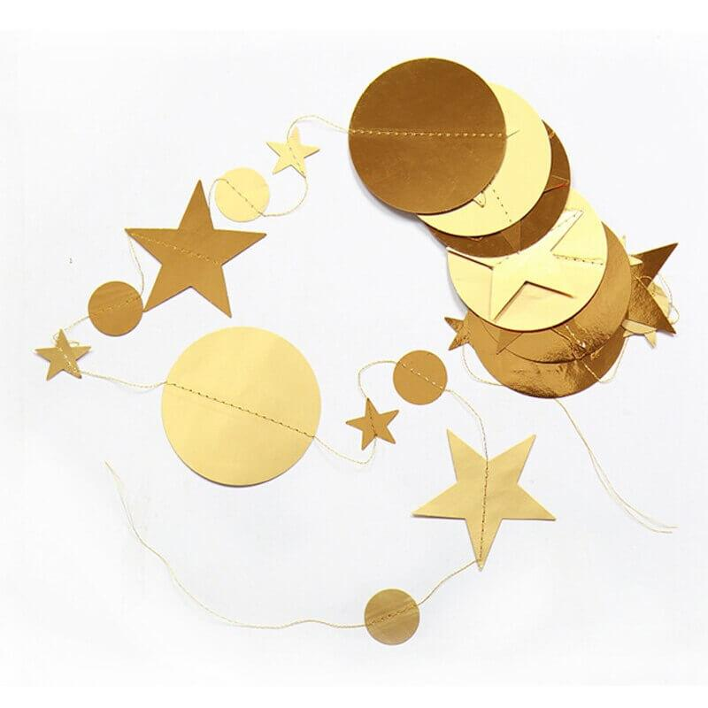 4m Metallic Gold Circle Star Paper Garland