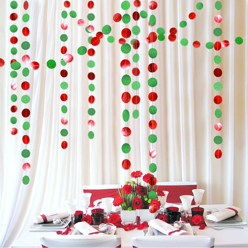 4m Red and Green Glitter Round Confetti Paper Garland