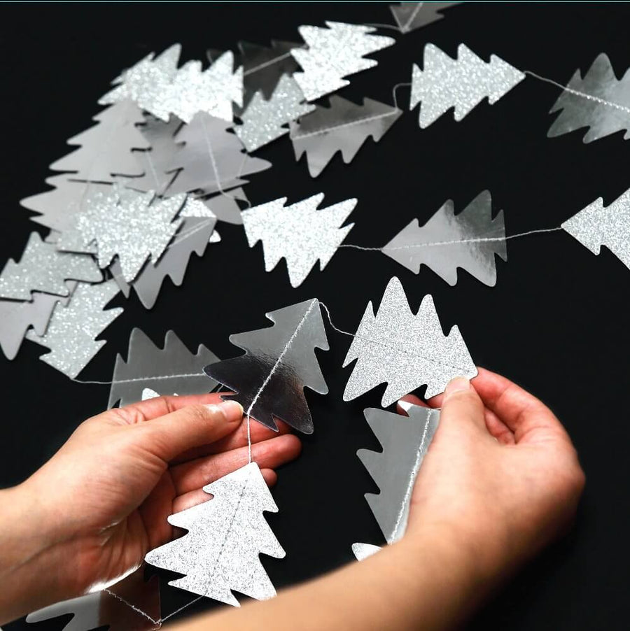 4m Silver Glitter Christmas Tree Metallic Paper Garland - Christmas and New Year Party Paper Decorations