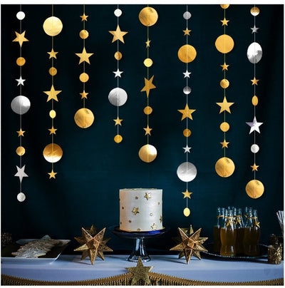 Online Party Supplies Australia 4m Metallic Silver Gold Circle Star Paper Garland