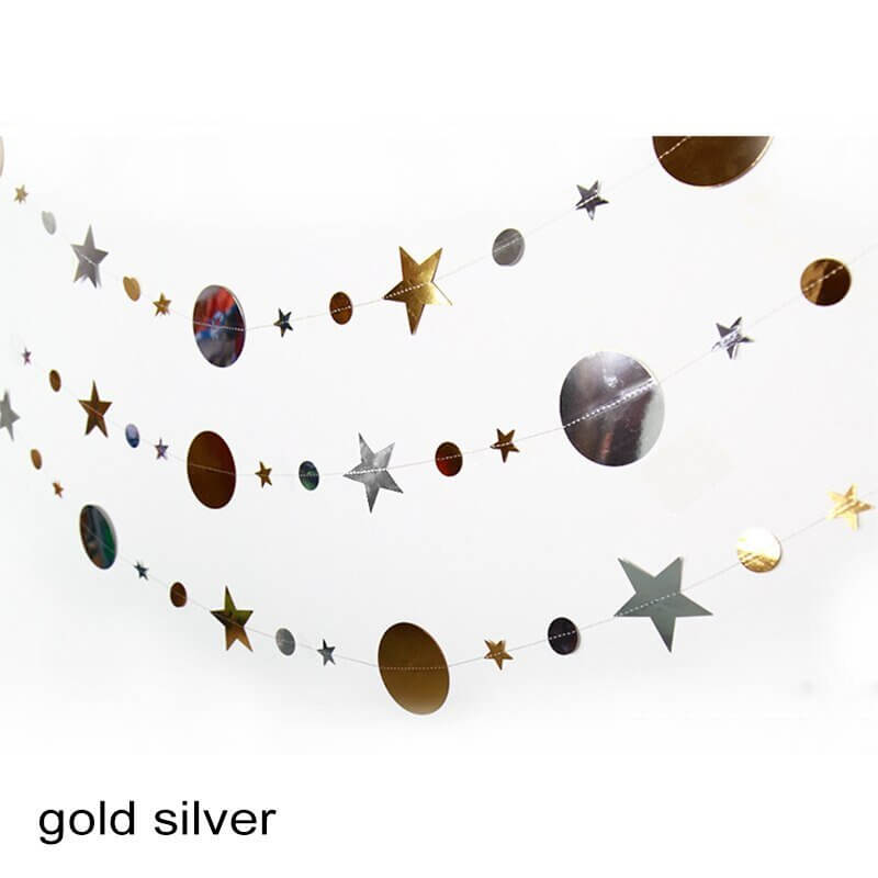 4m Metallic Silver & Gold Circle Star Paper Garland