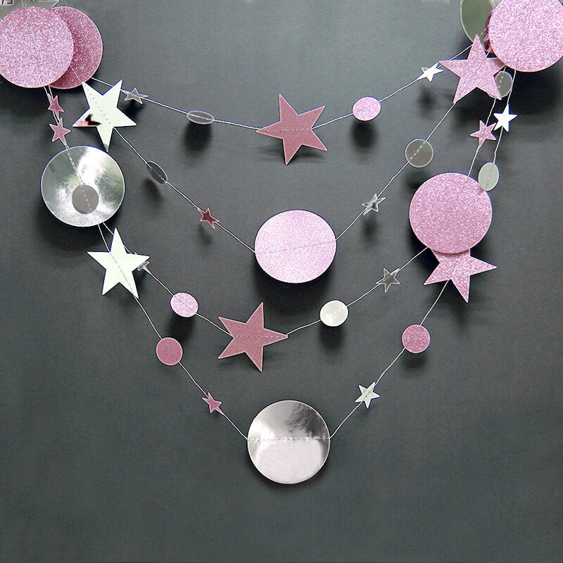 4m Glitter Lilac & Silver Circle Star Paper Garland