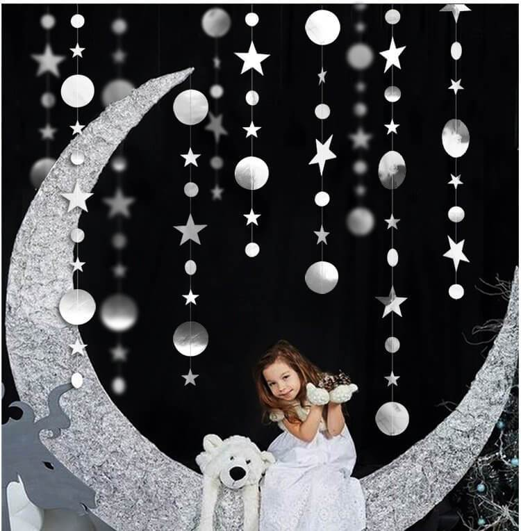 Online Party Supplies Australia 4m Metallic Silver Circle Star Paper Garland