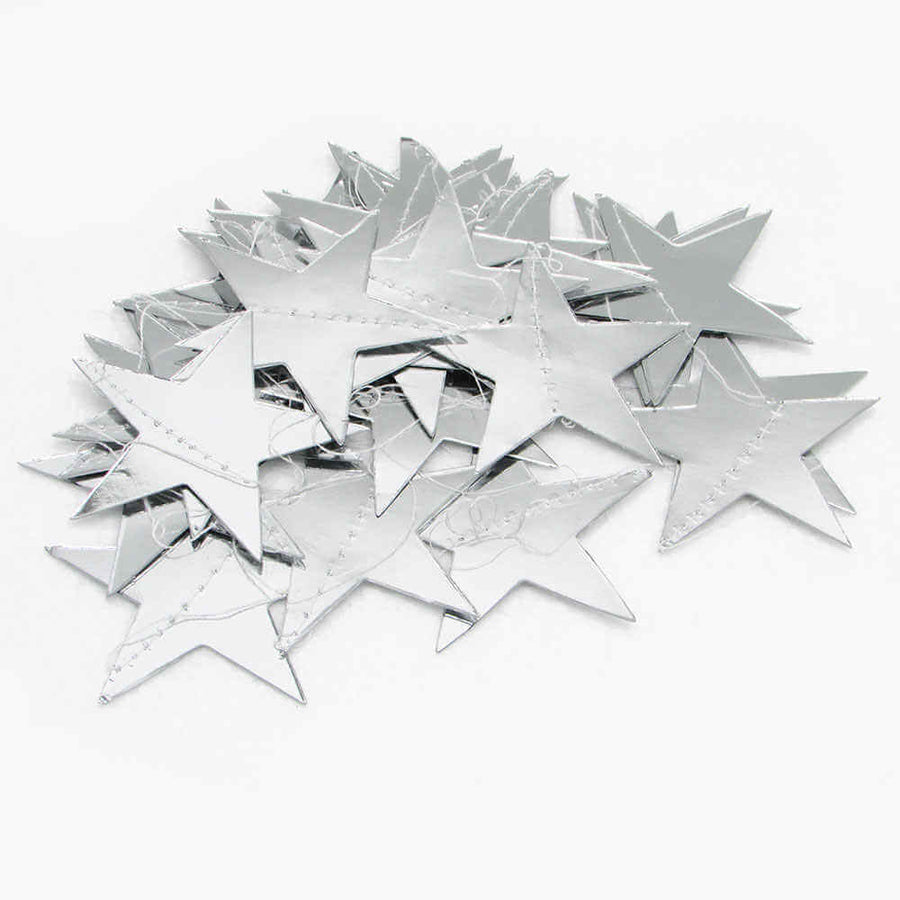 4m Silver Metallic Star Paper Garland Christmas party decorations